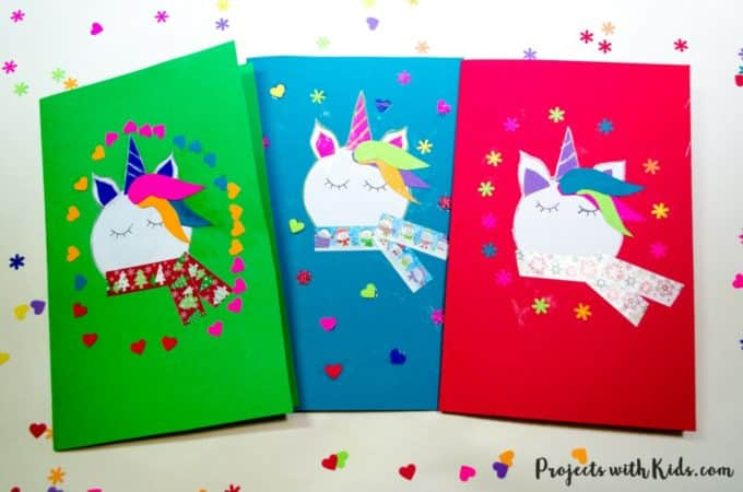 unicorn christmas cards from projects with kids.