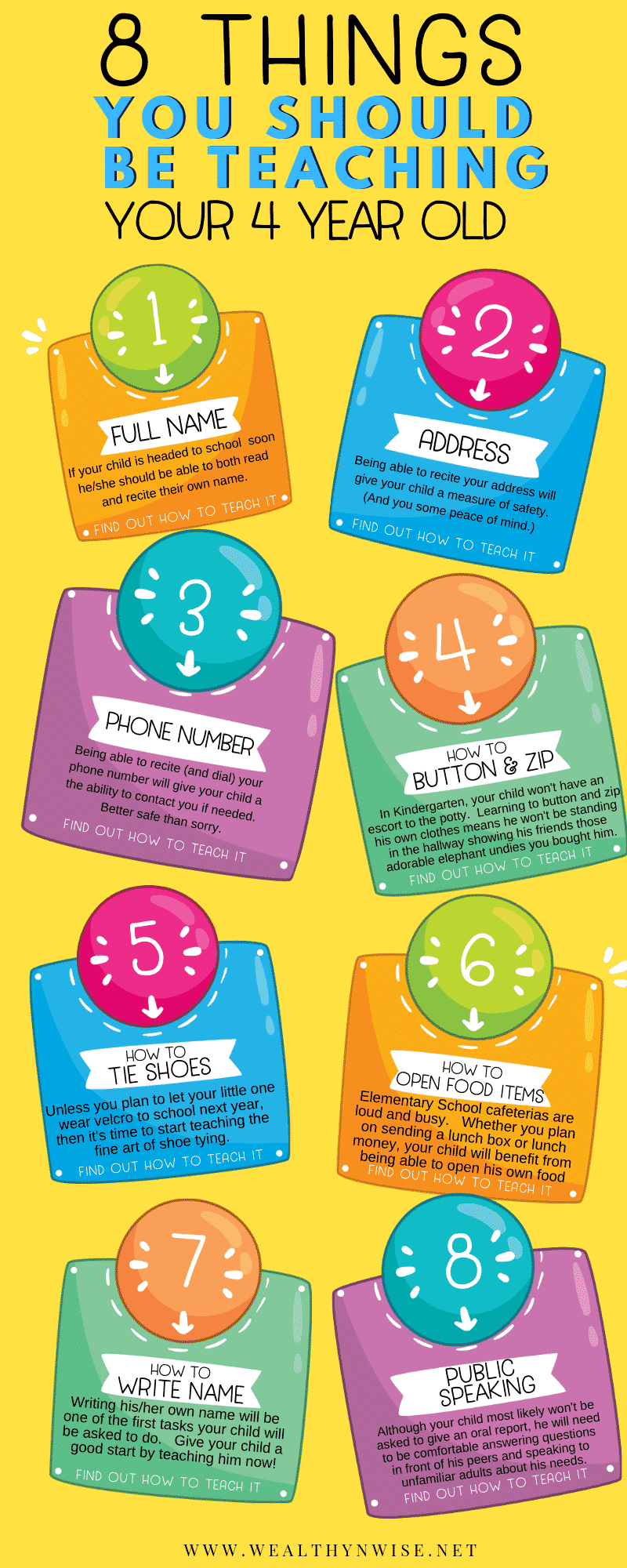 Things your should be teaching your four year old. Infographic on Kindergarten readiness #preschool #kindergartenreadiness