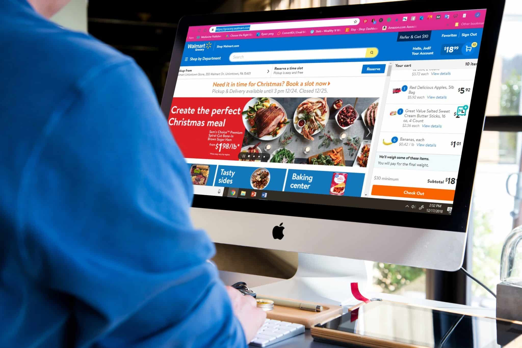 Woman grocery shopping online with walmart grocery