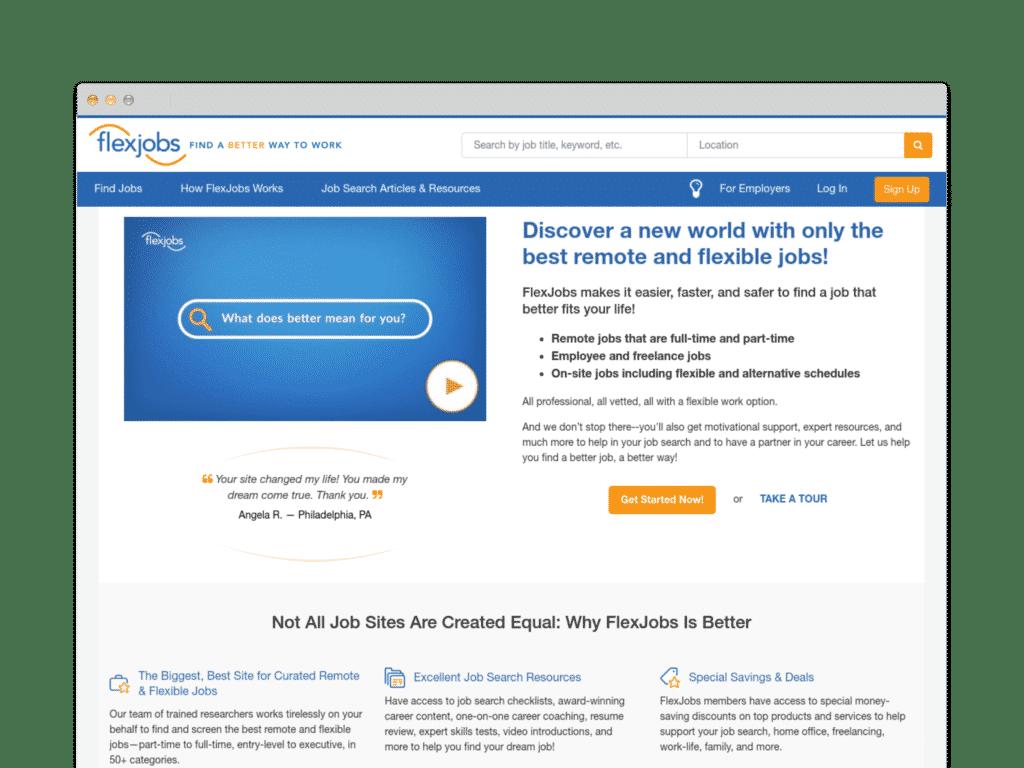 Flexjobs : Fining a better way to work Website Screen Shot.