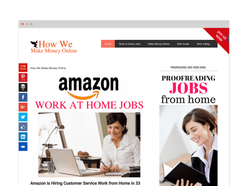 "How we make money online Website Screen Shot.  BOLD FONT READS ""AMAZON WORK AT HOME JOBS"
