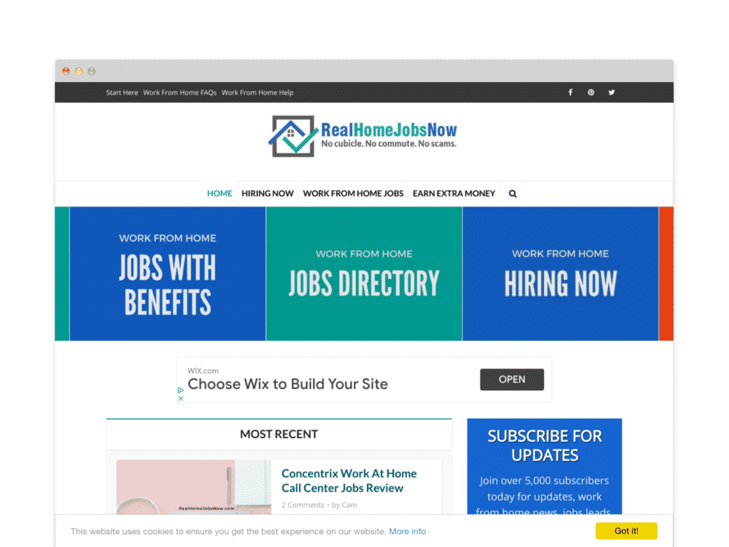 Real Home Jobs Now Website Screen Shot.