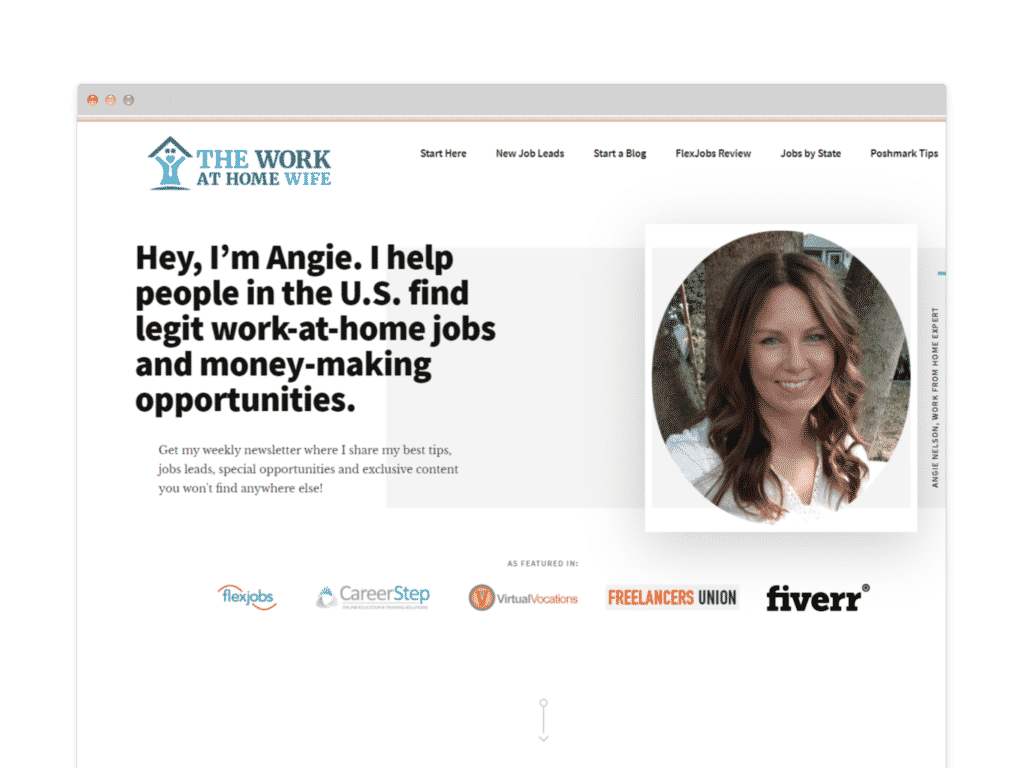 The Work at Home Wife Website Screen Shot.