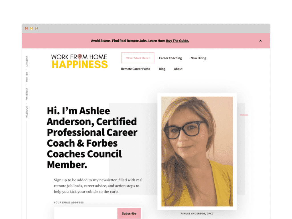 Work From Home Happiness Website Screen Shot.