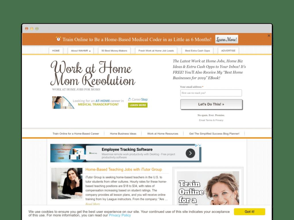 Work at Home Mom Revolution Website Screen Shot.