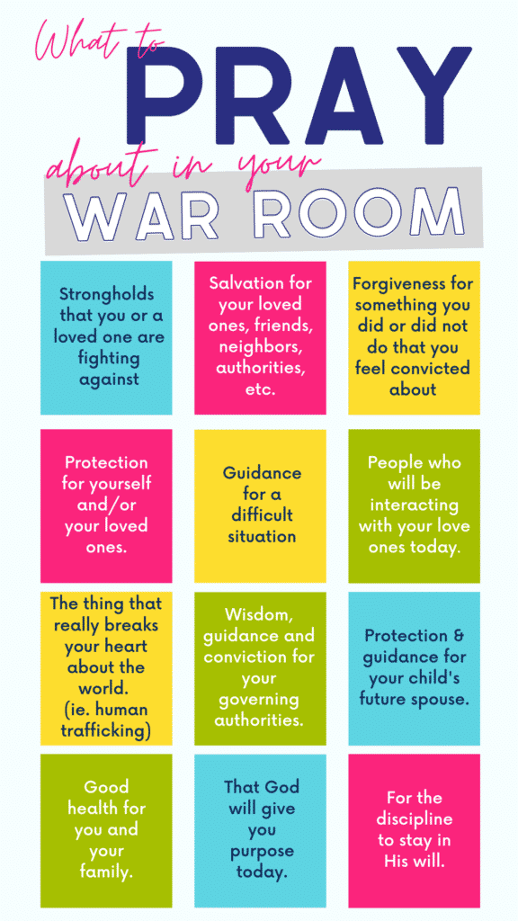What to pray about in your war room.   12 prayer strategies to make your quiet time matter.